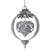 Inspired Silver Dance Mom Pave Heart Holiday Christmas Tree Ornament Wit... - $14.69