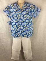 NEW Womens Hawaiian Flowers W/ White Scrubs Set SZ S-M  Medical  Nurses ... - $15.79