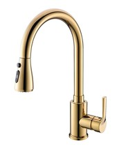 GOLD Kitchen Sink Swivel Pull Out Spray Mixer Faucet Tap Single hole dec... - $108.89
