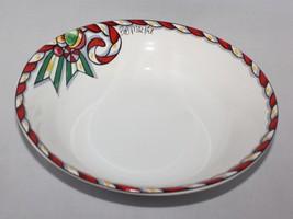 Soup Cereal Bowl Bob Mackie Santas Party Sakura Christmas Braided Red Garland - $12.82