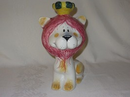 Vintage Ceramic Bank Lion w Crown ITALY Quadrifoglio Italian Coin - $19.79