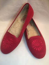 UGG Australia Sz 7 Red Alloway Shearling Sheepskin Leather Ballet Flats EUC - $34.68