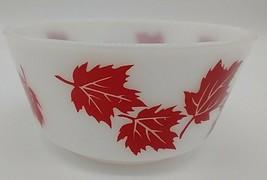 Hazel Atlas Vintage Red Maple Leaf Milk Glass Cereal Bowl Mid Century - $16.82