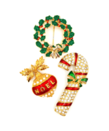 Holiday Jewelry Collection With Avon Noel Pendant, Candy Cane and Wreath Pins - $27.00