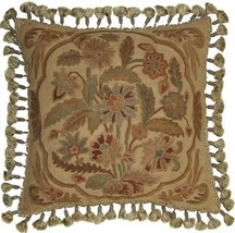 """New Hand-Embroidered Throw Pillow 22\""""x22\"""" Country Flowers - $349.00"""