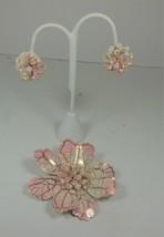 Vintage Pink & Gold Enamel Flower Pin & Earring Set - $17.81