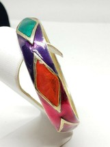 Multi Color Enamel Bangle Bracelet Vintage Red Green Purple Orange Beaut... - $25.20