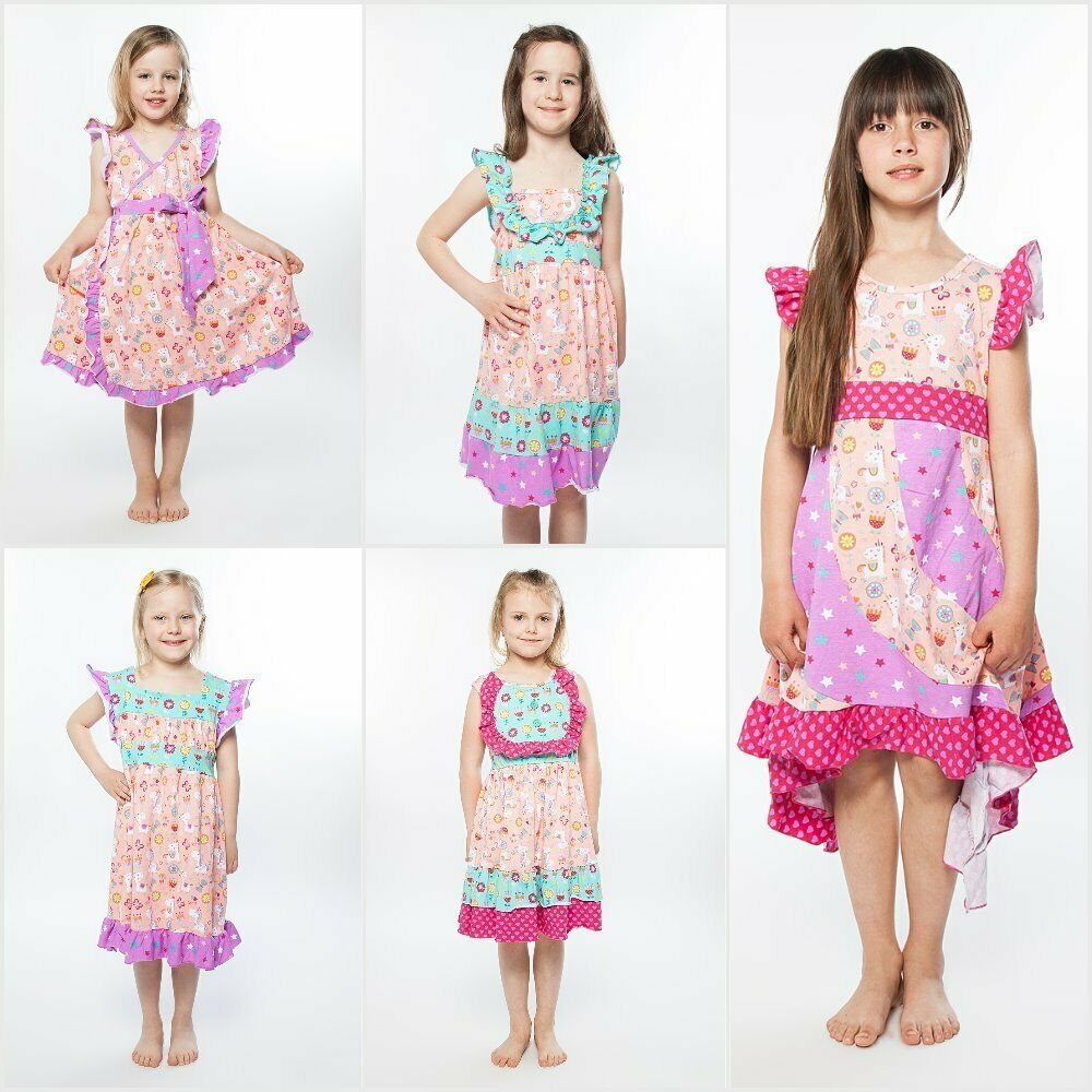 Primary image for NWT Jelly The Pug Unicorn Pink Bri Mischa Priscilla Jenny Flo Girls Ruffle Dress