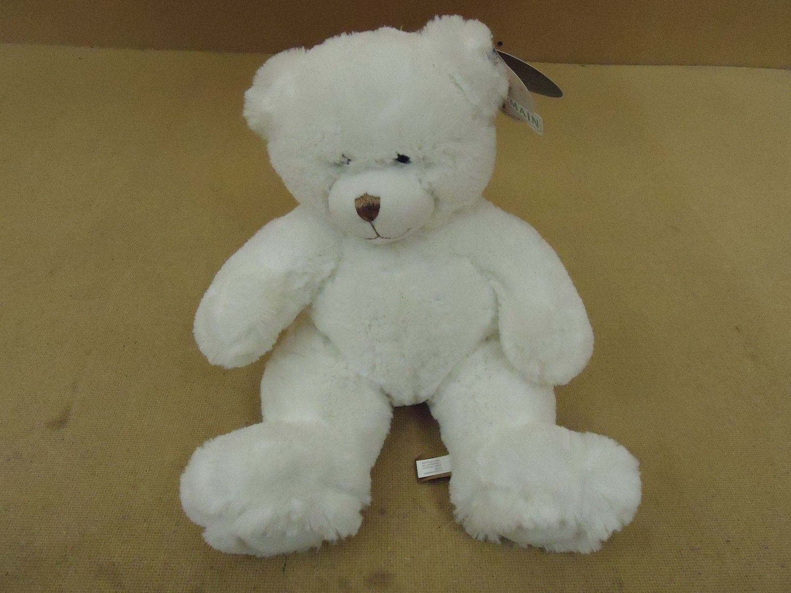 First & Main Teddy Bear 15in Cuddly Fuzzy White Dean Ages 3 and UP