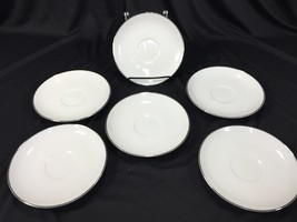"(6) Noritake Fine China Japan 6"" Coffee Cup Saucers White Silver - $19.99"
