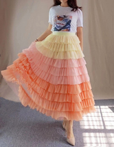 Yellow Pink Layered Tulle Skirt Tiered Tulle Party Outfit Plus Size Party Skirt  image 8