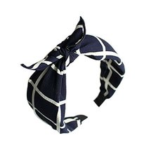 Blue Plaid Prints, Bow Headband and Broadside Designed