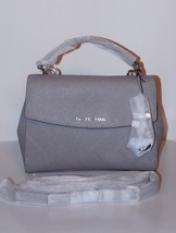 NWT MICHAEL Michael Kors Ava Cross Stitch Small Top Handle Satchel / Pearl Grey - $169.99