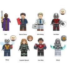 8pcs Ant-Man And Wasp Ghost Captain Marvel Iron Man Zuri Baron Zemo Minifigures - $12.49