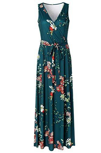 Zattcas Womens V Neck Sleeveless Empire Waist Floral Maxi Dress,Teal Green,X-Lar