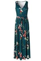 Zattcas Womens V Neck Sleeveless Empire Waist Floral Maxi Dress,Teal Green,X-Lar image 1