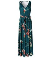 Zattcas Womens V Neck Sleeveless Empire Waist Floral Maxi Dress,Teal Gre... - $22.77