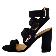 Qupid Chester 123 Black Women's Open Toe Strappy Chunky Heels - $31.95