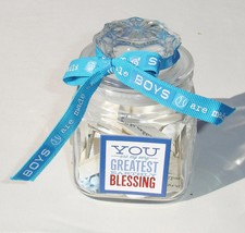 Handcrafted Baby Boy Blessing Jar - OOAK - Blue Baby Shower Keepsake Gift - $18.99