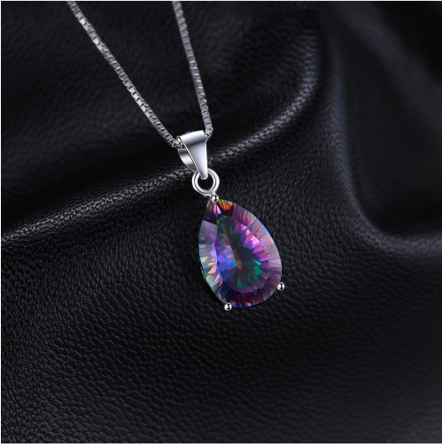 JewelryPalace 4ct Genuine Multicolor Rainbow Fire Mystic Topaz Pendant Pear Real image 2