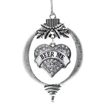 Inspired Silver Beer Me Pave Heart Holiday Decoration Christmas Tree Ornament - $14.69
