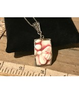 Recycled Broken Porcelain Jewelry, Embossed Pink & White Bee Pendant - $24.75