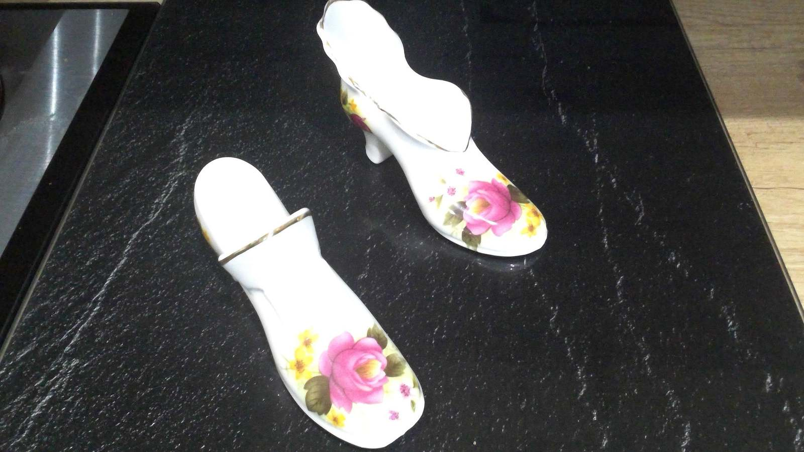 Primary image for 2 x Roy Kirkham fine bone china shoes made in England