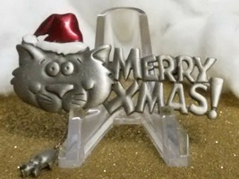 "Vintage ""Jj"" Cat Devouring A Mouse Holiday Funny Merry Christmas Brooch Pin. - $9.80"