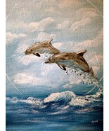 11 x 14 Dolphin Dance Seascape Painting - $17.95