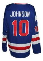 Custom Name # Team USA Retro Hockey Jersey New Blue Johnson #10 Any Size image 2