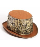 SteamPunk Cosplay Victorian Style Deluxe Brown Top Hat with Gear Wrap NE... - $19.34