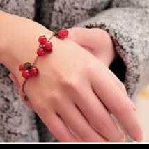 Red Beads Bronze Tabs Bracelet<> We Combine Shipping 11717 - $3.75