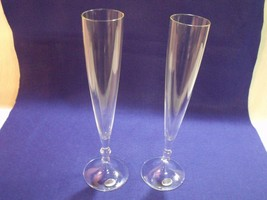 """PAIR OF ROGASKA BLOWN GLASS 11"""" CHAMPAGNE FLUTES, SIGNED, W/ ORIGINAL ST... - $33.66"""