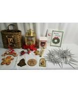 CHRISTMAS Decor & Ornaments Lot BRASS LANTERN, Santa Cardholder, Garland... - $47.95