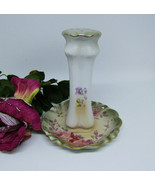 R S Olive Green Pink Roses Pastel Hatpin Holder Repro - $29.50