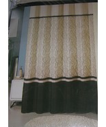"New Fabric Shower Curtain 72"" X 72"" Embroidered Modern Cream and Black - $22.76"