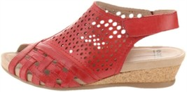Earth Leather Perforated Wedge Sandals- Pisa Galli Bright Red 8.5M NEW A... - $63.34