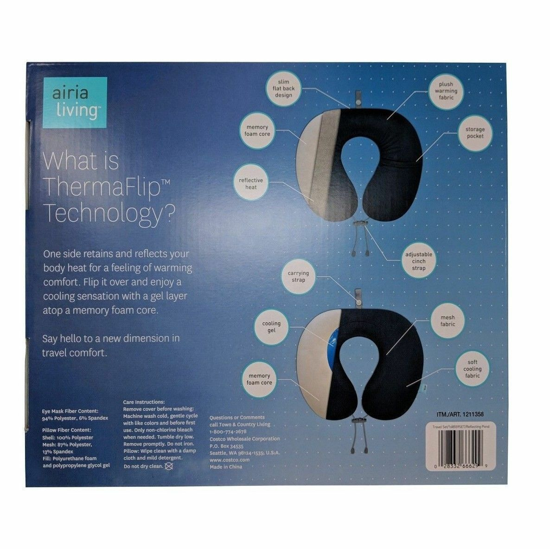 Airia Living ThermaFlip Memory Foam Travel Pillow Head Rest Eye Mask Neck Suppor