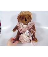 Kids of America Corp Plush Stuffed Animal Brown Bear Straw Hat Pink Lace Dress - $5.99
