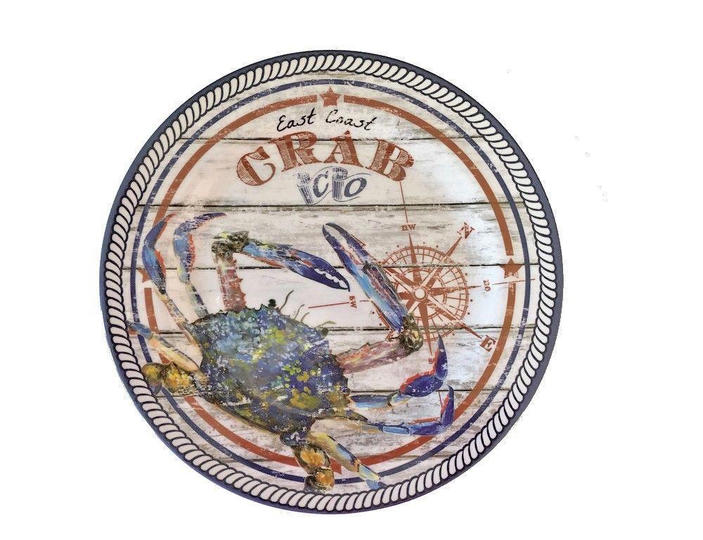 "East Coast Crab Co. Set of 4 Melamine 10.5"" Dinner Plates Size Coastal Nantucket"