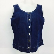 Eddie Bauer Sleeveless Blouse Women's Large Blue Denim Tank Button Front Shirt - $12.38