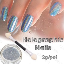 HOLOGRAPHIC NAIL POWDER 2g RAINBOW Glitter Effect Ultra Thin Silver Dust... - $10.20