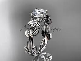 Moissanite Engagement Ring 14k white gold modern engagement ring ADLR424 - $945.00