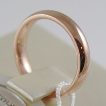 18K ROSE GOLD WEDDING BAND UNOAERRE COMFORT RING MARRIAGE 4 MM, MADE IN ITALY image 2
