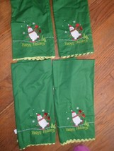 4 NOWT Christmas Tea TowelS.green cotton with emboridery snowman skating - $11.88