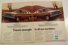 1972 Chrysler Duster & Duster 340 Strength in Numbers Print Ad with Stats 2 page - $9.99