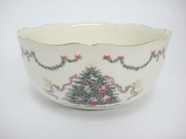 "Lenox  Joys of Christmas Bowl 8"" Decorated Tree Garland Gold Trim Mint w... - $29.69"