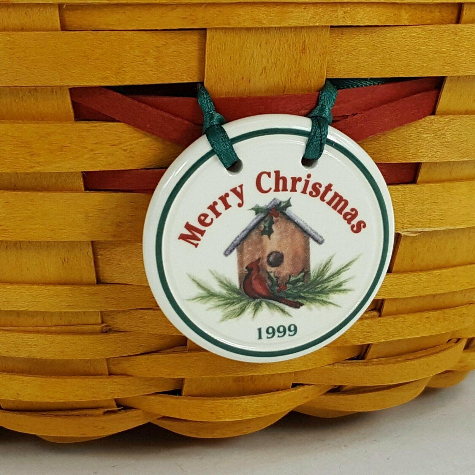 Longaberger 1999 Christmas Popcorn Basket w Protector & Red White Liner 15156 image 3