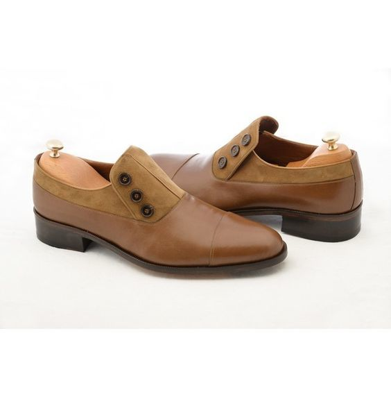 Handmade Men's Brown Leather and Suede Buttons Shoes