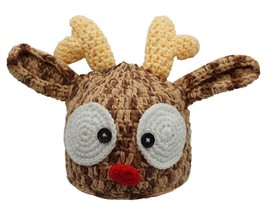 Christmas Santa's Reindeer Crochet Toddler Baby Hat Beanie Photo Prop - $15.00